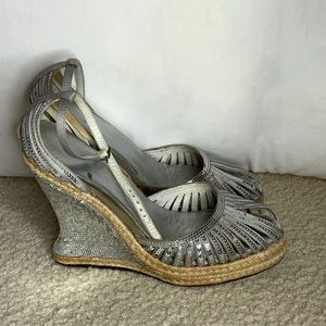 Wedge sequin high shoes
